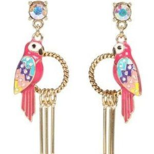 Betsey Johnson pink parrot feather earrings **